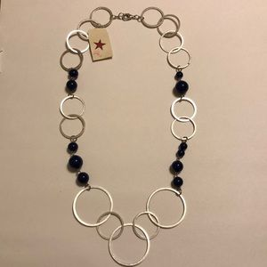 Silver circle/blue beaded necklace
